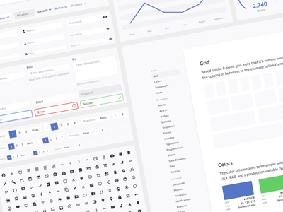 UI Design System for Sketch fields tables pagination forms inputs buttons line chart bar chart nested symbols style guide responsive charts
