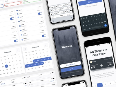 Mobile Design System for Sketch symbols navigation notification forms input mobile android ios keyboards iphone x design system ui kit