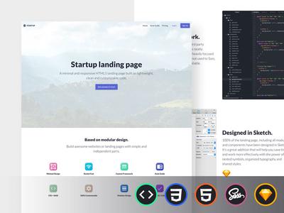 Startup Landing Page blurbs icons hero sass responsive template html css sketch ui kit landing page