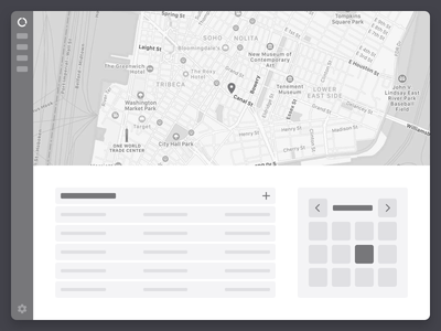 Responsive Wireframe Kit responsive lofi sidebar calendar table sketchapp sketch modules map dashboard wireframe