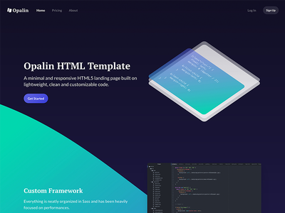 Opalin HTML Template - Preview clean minimal sketchapp template isometric illustration hero landing page sass html