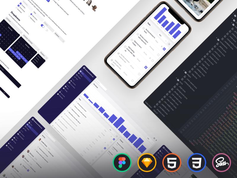 Dashboard UI Kit 2.0 style guide widgets sass css html responsive charts dashboard mobile figmadesign figma sketchapp sketch ui kit