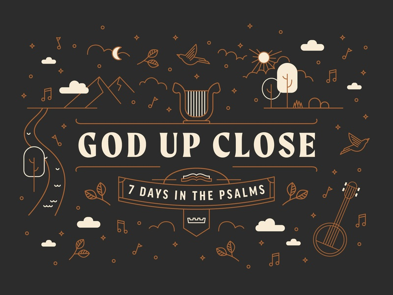 Psalms Illustration harp nature floral music flyer church ministry startup branding brand web adventure outdoors outside clouds landscape bible book lines illustrate