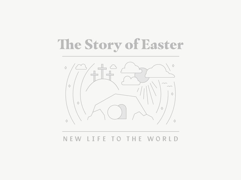 Liturgical Series 5/5 vector badge 2020 trend typography ministry graphic monoline lines event branding brand logo church bible jesus tomb cross 2020 easter