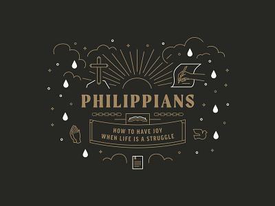 Philippians Illustration design ministry city clouds sun prayer hand writing cross book jesus bible philippians lines illustrate illustration badge logo branding brand