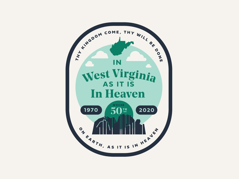 WVCSB Logo 2 retro modern landscape mountain monoline lines 25 50 anniversary missions ministry christian state illustration flyer event badge branding brand logo