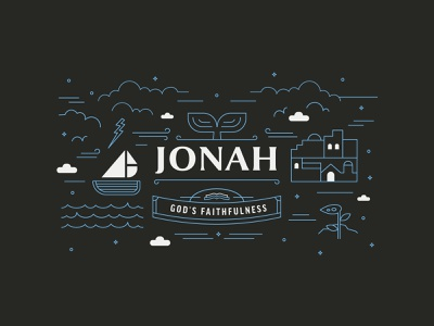 Jonah Graphic web retro vector storm water boat illustration monoline lines church ministry graphic sermon jonah bible city branding brand badge logo