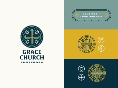 Grace Church Amsterdam Branding startup vector badge lines church web event flyer print illustration typography christian cross tulip amsterdam ministry branding brand logo church logo