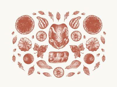 Thanksgiving Illustration pumpkin art feast food nuts squash pie pencil digital leaves spices fruit sketch procreate illustrate autumn fall turkey thanksgiving illustration