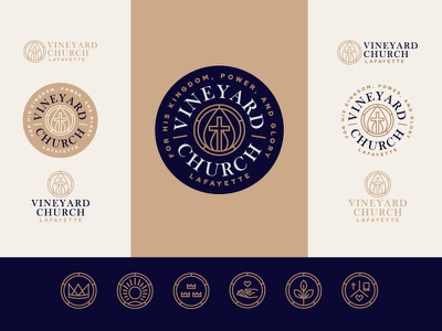 Vineyard Church Brand Design vector line art engraving monoline easter kingdom vine vineyard heart bible plant crown trinity holy spirit cross church illustration branding brand logo