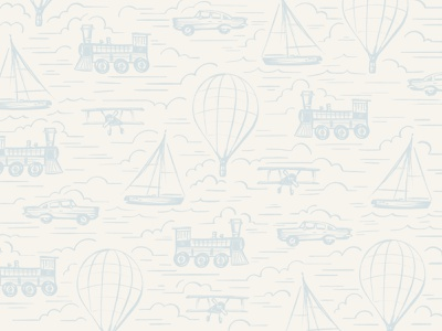 Boy Nursery Illustration nursery art wallpaper fabric pattern painting drawing surface pattern train vintage plane sail boat car illustrate room toddler boy illustration nursery baby
