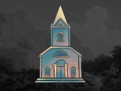 Church Illustration spirituality religion stained glass windows god heavenly heaven gold gradient texture sparkles graphic series trinity steeple ministry christian illustration building church