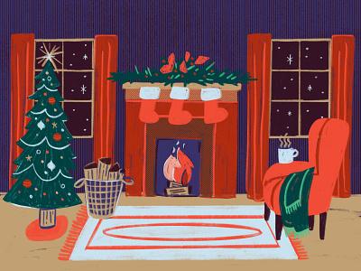 Cozy Christmas Illustration season advent christian fire texture goauche rug log windows stockings ornaments tree armchair fireplace scene winter holidays holiday christmas cozy