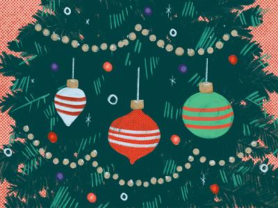 Christmas Tree Illustration branch light bulb advent halftone texture vintage retro festive garland ornament snow snowflake lights ornaments tree winter holiday christmas illustration