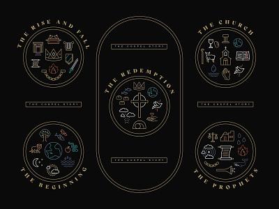 The Gospel Story Graphics trinity illustration design ministry badge logo roayl crown advent easter jesus cross redemption genesis beginning prophets god bible church sermon