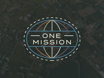 One Mission world earth adventure advent easter illustration badge brand logo church airplane travel global globe