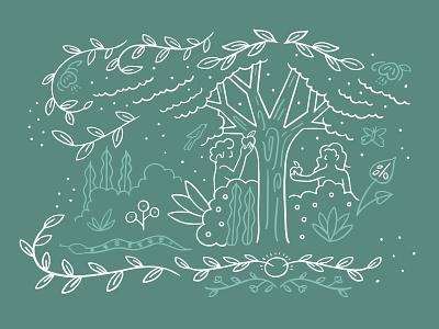 Eden Illustration easter jesus graphic reformed catechism book sermon handlettering illustration plants pattern foliage genesis church eve adam eden garden floral