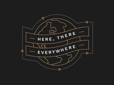 Here There Everywhere Graphic website web modern ribbons travel map world globe illustration lines arrows black and gold branding brand logo type missions reformed christian badge