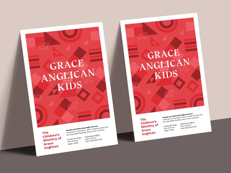 GA Kids Pattern swiss design typography type serif print kids poster childrens ministry church kids poster flyer modern red triangles sheep geometric pattern