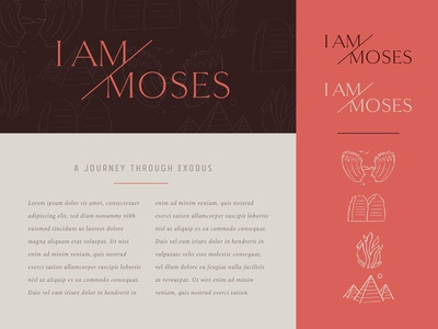 Moses Event Branding scripture event branding moses bible study bible ten commandments pyramid fire exodus illustration vector serif icons logo branding christian church brand and identity brand badge