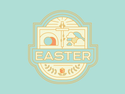 Easter 2019 Badge web missions church ministry graphic reformed bible series sermon life illustration holiday spring lines badge ressurection cross christian jesus easter