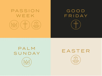 Easter Graphics web circle icons icon jesus bible church holiday flower crown cross easter typography lines badge ministry christian branding brand logo