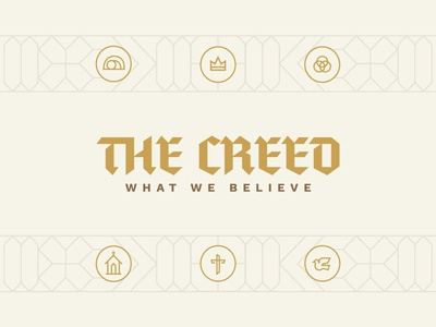 The Creed Graphic easter illustration vector monoline typography branding brand logo cross trinity gold lines bible sermon church jesus christian creed ancient blackletter