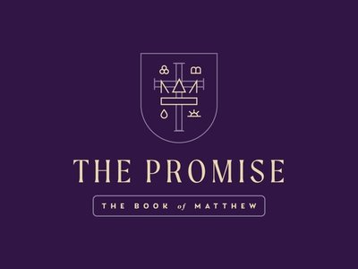 Matthew Graphic bible jesus typography type web ancient historic crest crown royal purple monoline lines badge ministry sermon church branding brand logo