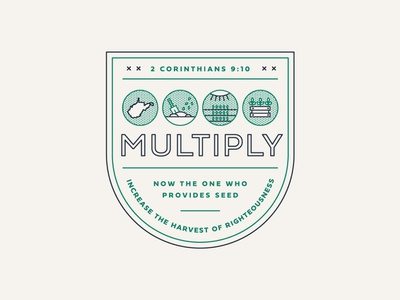 Multiply Logo state west virginia farm crop multiply grow seed sermon lines anniversary church christian icon illustration typography branding brand event badge logo