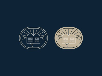Ten sermon scripture jesus symbol landscape sun mountains gold lines illustration church ministry exodus moses ten commandments badge christian branding brand logo