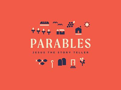 Parables graphic church type branding illustration badge ministry missions foliage farm geometric vector sermon parables jesus bible brand logo