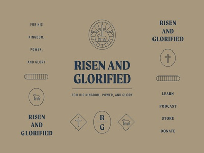 Risen and Glorified Branding missions typography website risen web podcast vector badge cross type jesus lamb icon christian ministry church identity branding brand logo