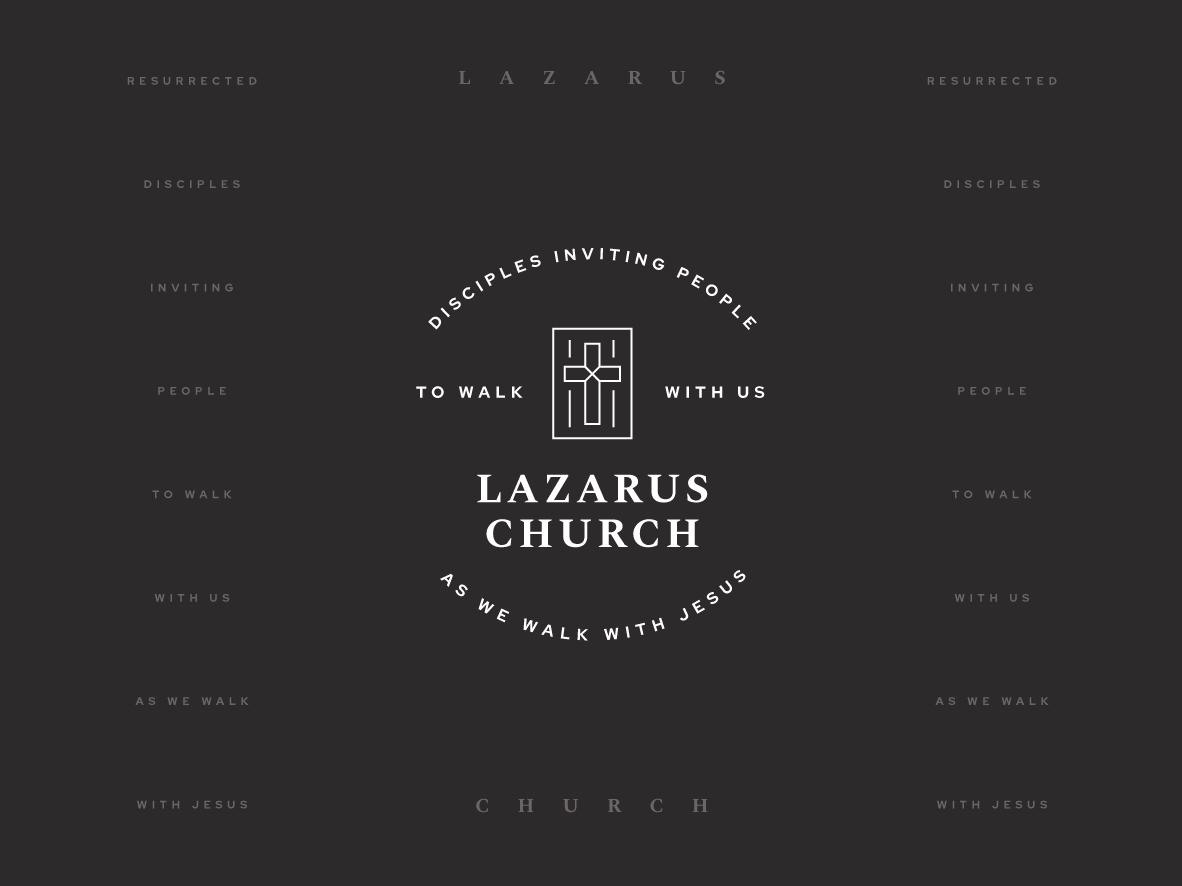 Lazarus Church missions ministry badge uiux web minimal lines vintage retro cool art direction type campaign marketing cross brand mark logo branding brand church