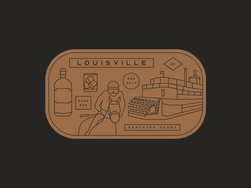 Weekly Warmup Sticker boat kentucky branding brand logo vintage retro jockey cocktail river ferry racing horse derby alcohol bourbon louisville copper badge weekly warmup