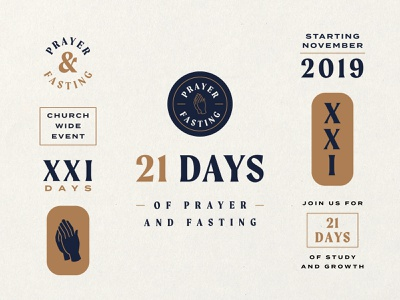 21 Days badges badge web graphics sermon typography fasting hands prayer missions ministry church illustration event branding brand logo