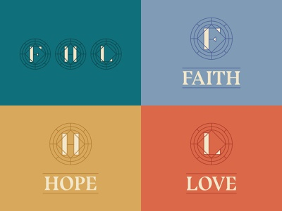 Faith  Hope  Love lettering monogram graphic sermon ministry illustration typography branding jesus church reformed hope love faith badge brand logo