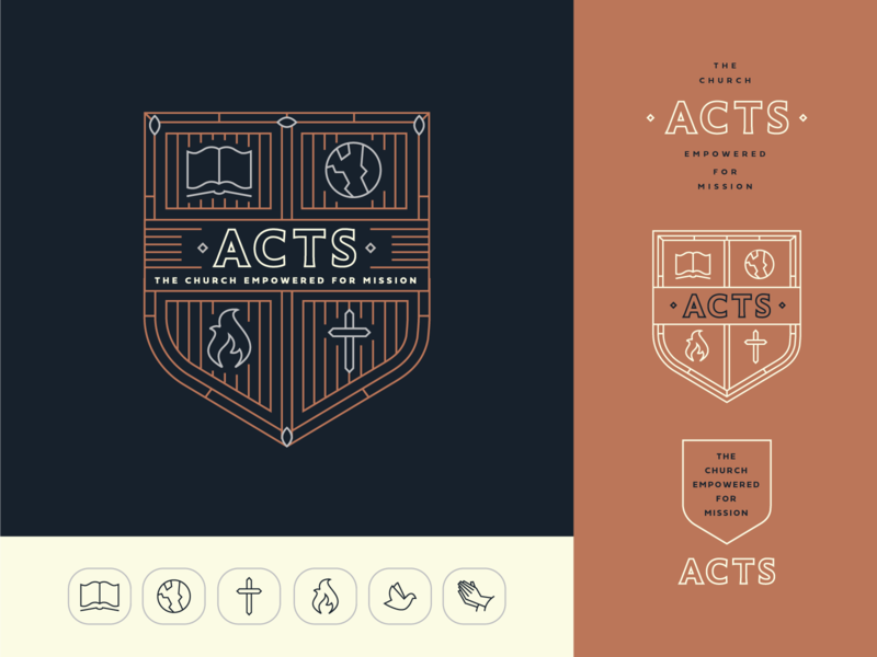 Acts Branding type church ministry missions dove hands prayer holy spirit fire world globe cross book acts badge shield crest branding brand logo