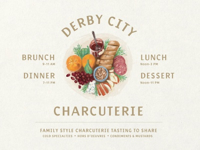 Charcuterie Illustration charcuterie thanksgiving texture procreate typography logo foodie lunch brunch dinner appetizer cheese plate meal branding brand illustration illustrate drink restaurant food