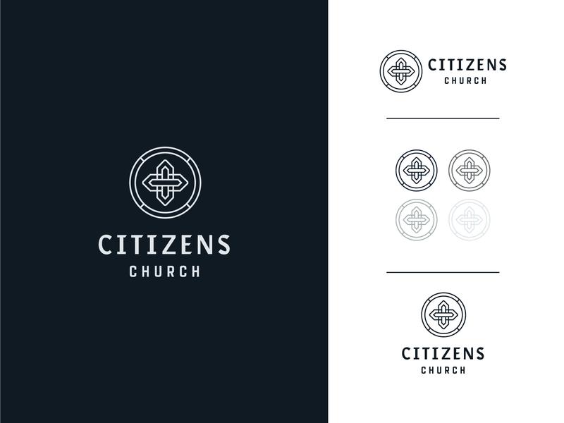Citizens Branding type christian web crest badge prayer missions jesus identity vintage historic cross vector lines ministry citizens church branding brand logo