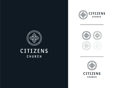Citizens Branding type christian web crest badge prayer missions jesus identity vintage historic cross vector lines ministry citizens church branding brand logo