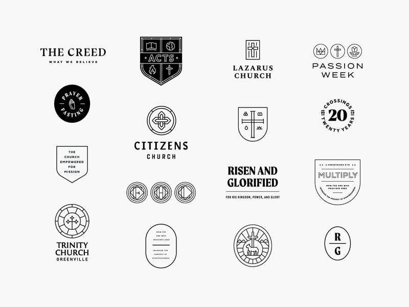 2019 in Review jesus card illustration typography print web flyer cross lines type start up business company church vintage retro badge branding brand logo
