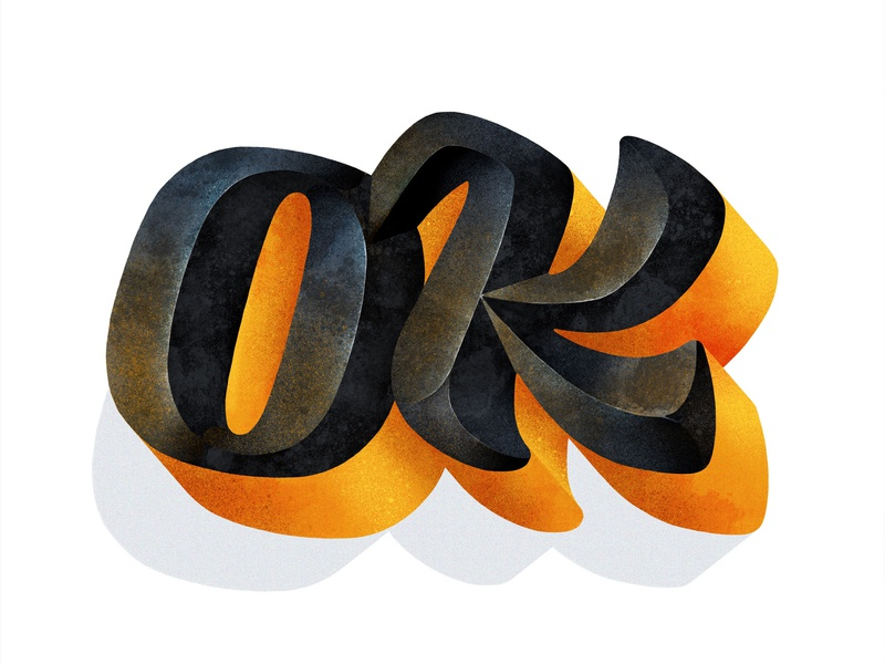Ok bevel grit texture shadow 3d type design procreate app letterforms procreate lettering design typophile typogaphy type design ipad pro apple pencil lettering art hand lettering custom lettering type lettering