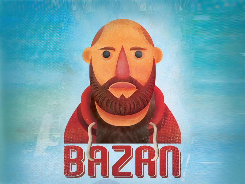 Bazan vector art poster design graphic design illustrator songwriter vector shapes red blue music poster illustration