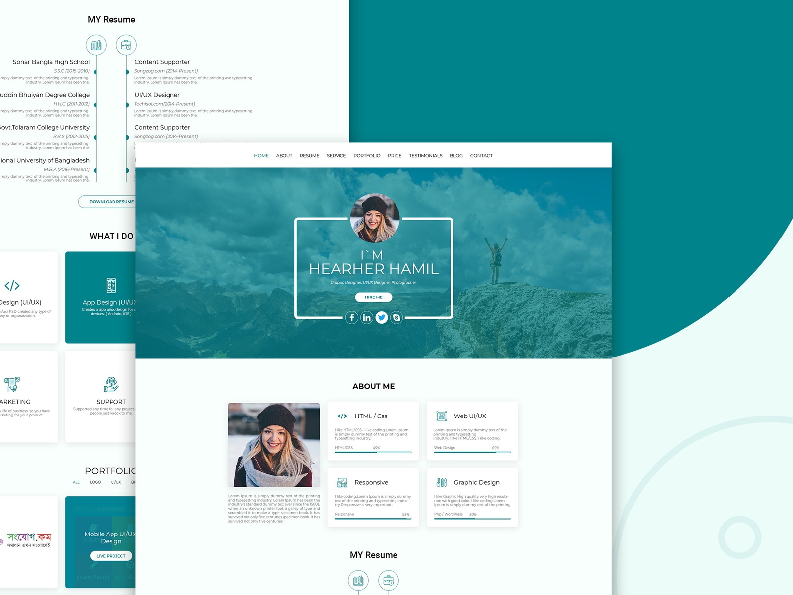 Personal Portfolio Web Ui Ux Design By Atahar Sharif Dribbble