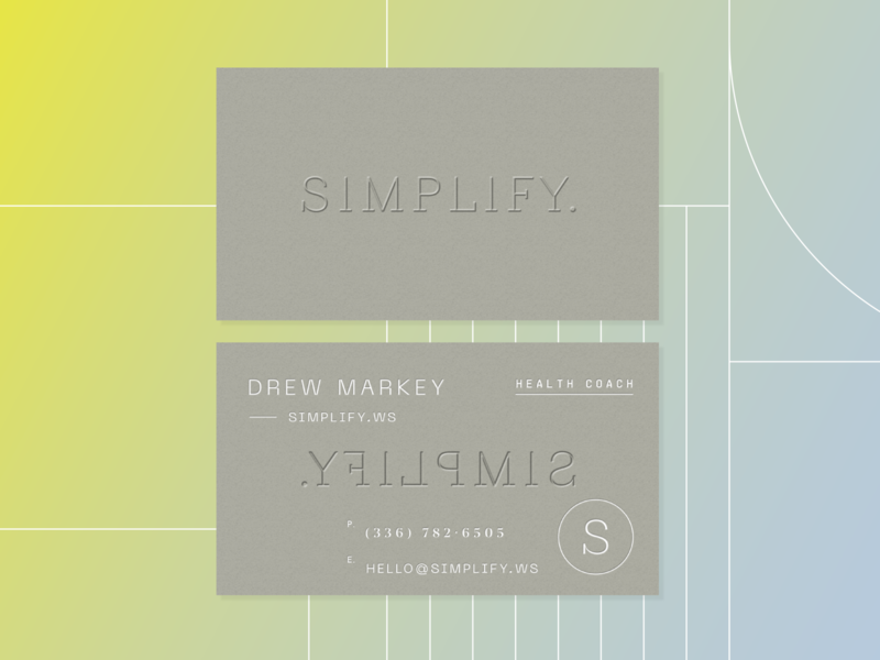 Simplify business cards fitness wellness health gradient icon branding logo modern emboss layout business cards