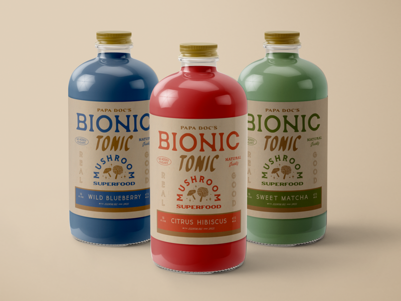 Papa Doc's Bionic Tonic logo wordmark typograhy vintage drink health label packaging