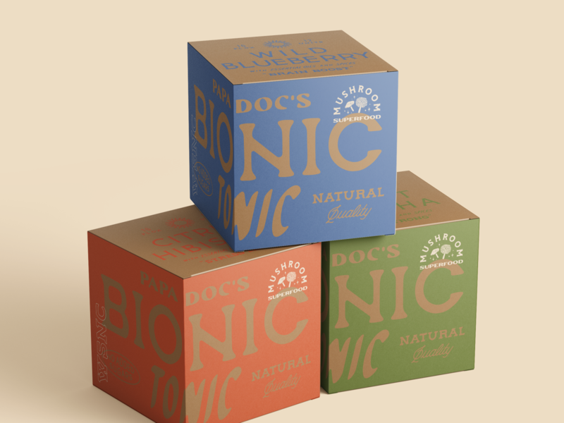 Health drink shipping boxes logo typography kraft cardboard vintage beverage health drink packaging box