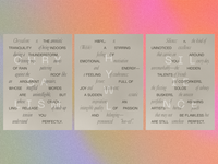 MODAL postcards card stationery overprint rainbow gradient layout modern typography postcards