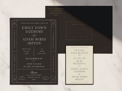 Classic wedding suite gold black and white deco retro vintage modern classic card envelope letterpress foil print invitation save the date stationery wedding