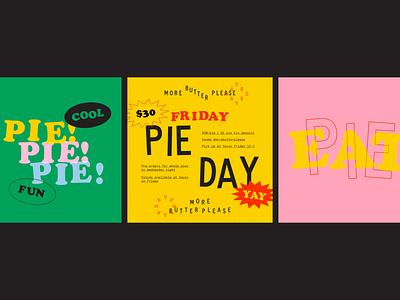 Eat pie! restaurant wordmark typography happy bright colorful quirky fun identity logo branding food eat pie